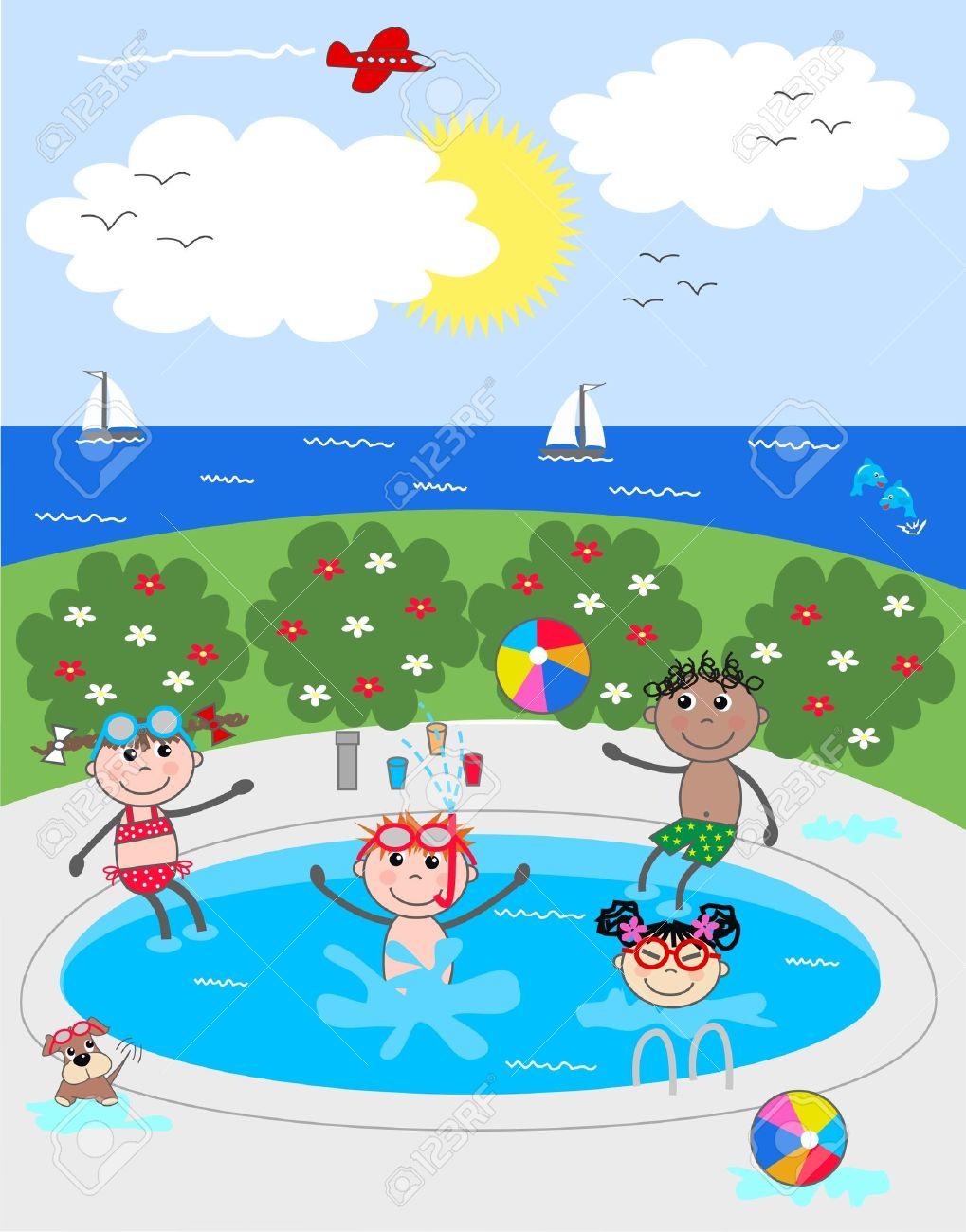 mixed ethnic children having fun in the pool Stock Vector - 13081375