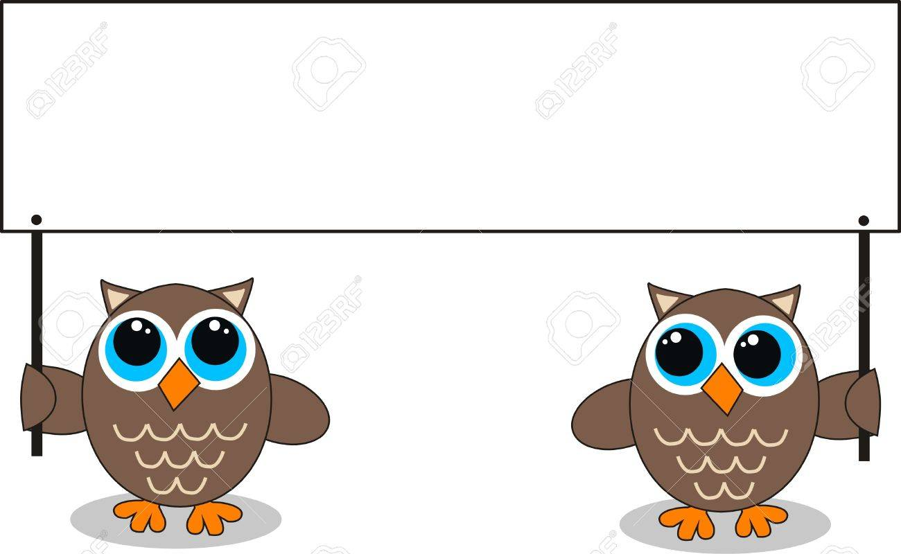 two owls with a placard Stock Vector - 13143030