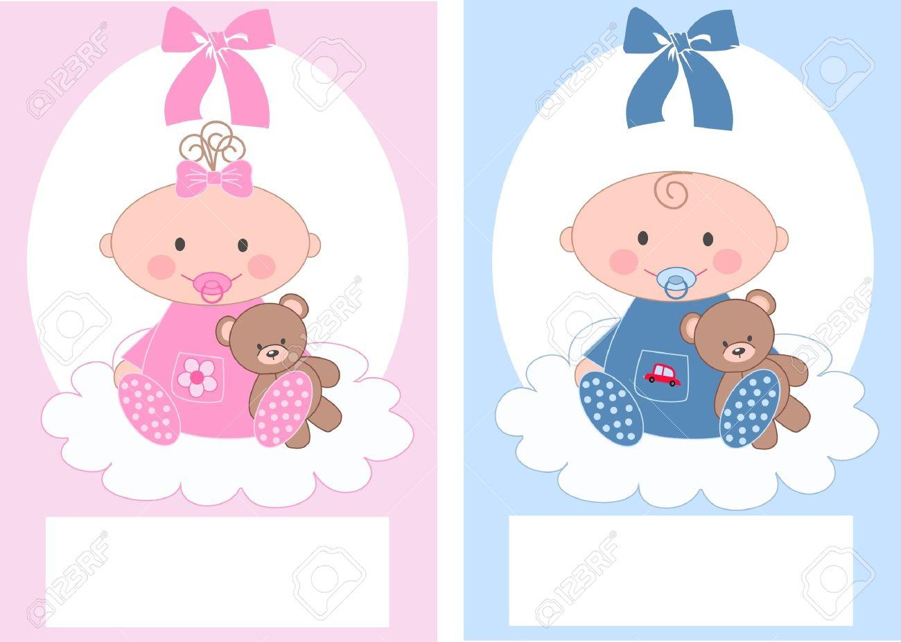 newborn baby announcement boy girl - 13578338