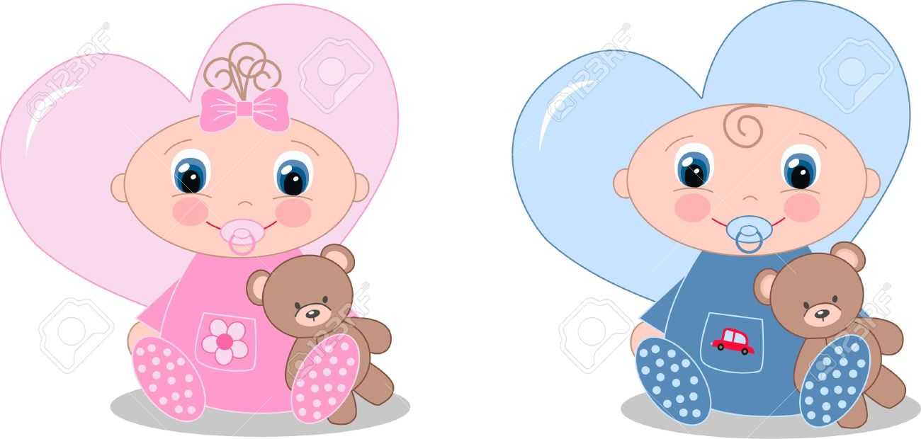 Newborn Baby Boy And Baby Girl Royalty Free Cliparts Vectors And Stock Illustration Image 13688330