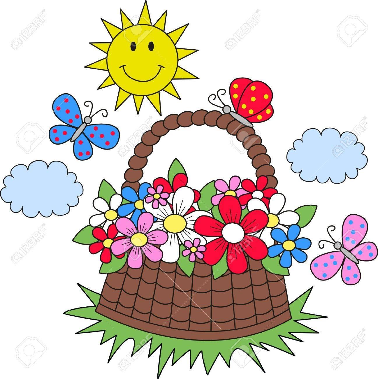 summer sun flowers butterflies Stock Vector - 13829487