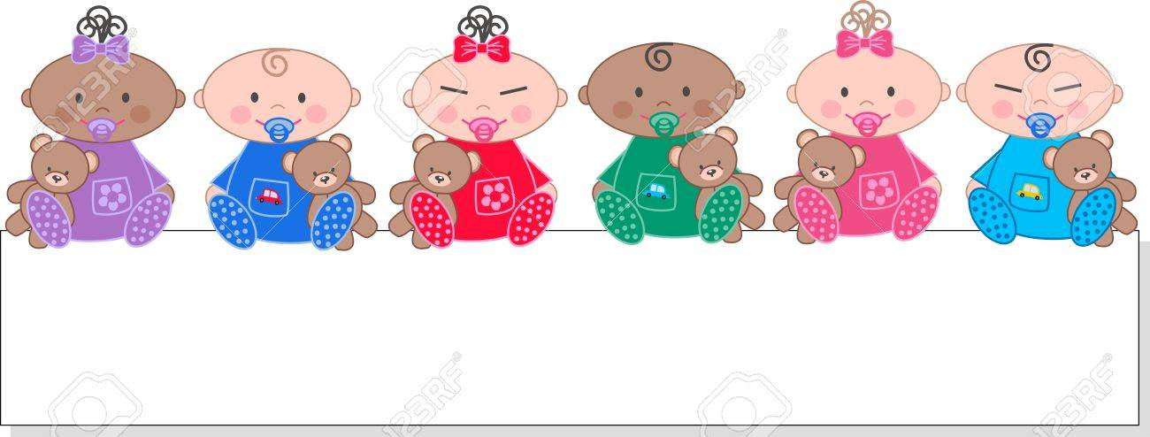 baby boy and baby girl Stock Vector - 14021371