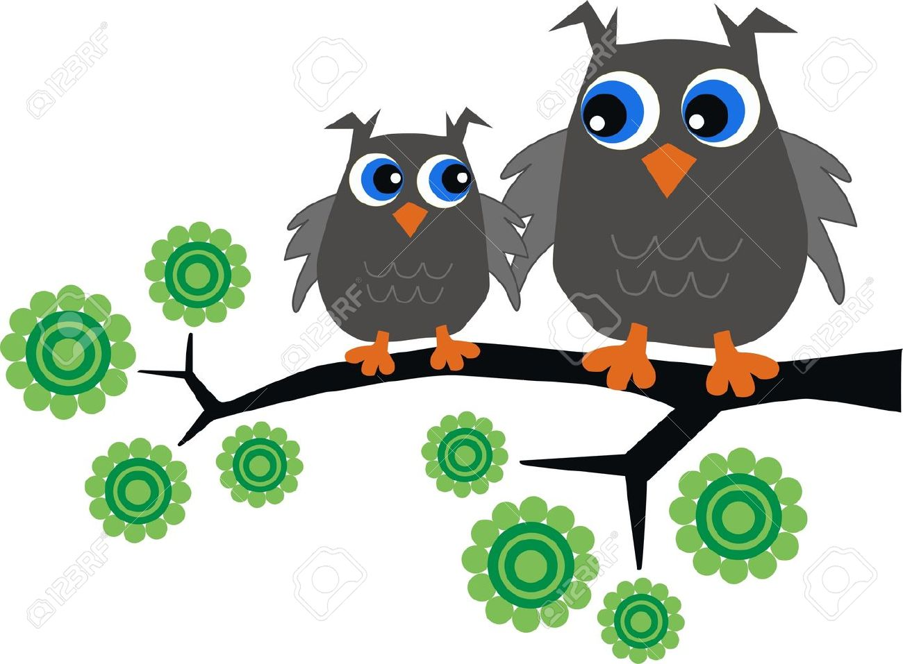 two owls sitting in a tree - 15574094