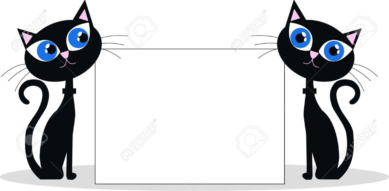 Vector - black cats header Cartoon Black Cat