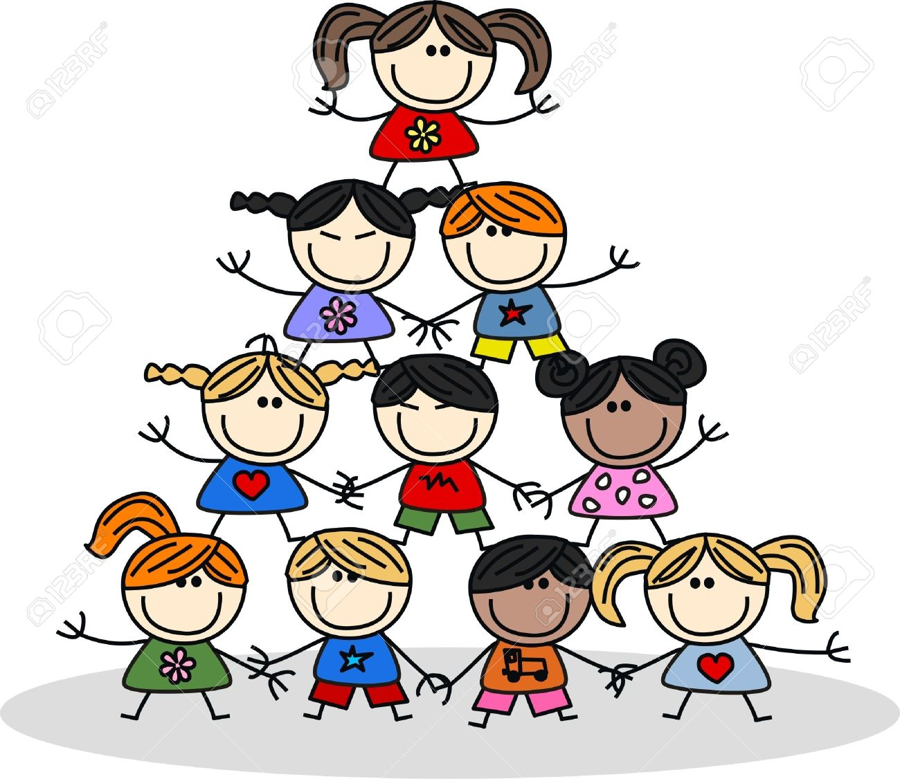 Mixed Ethnic Children Teamwork Royalty Free Cliparts, Vectors, And ...
