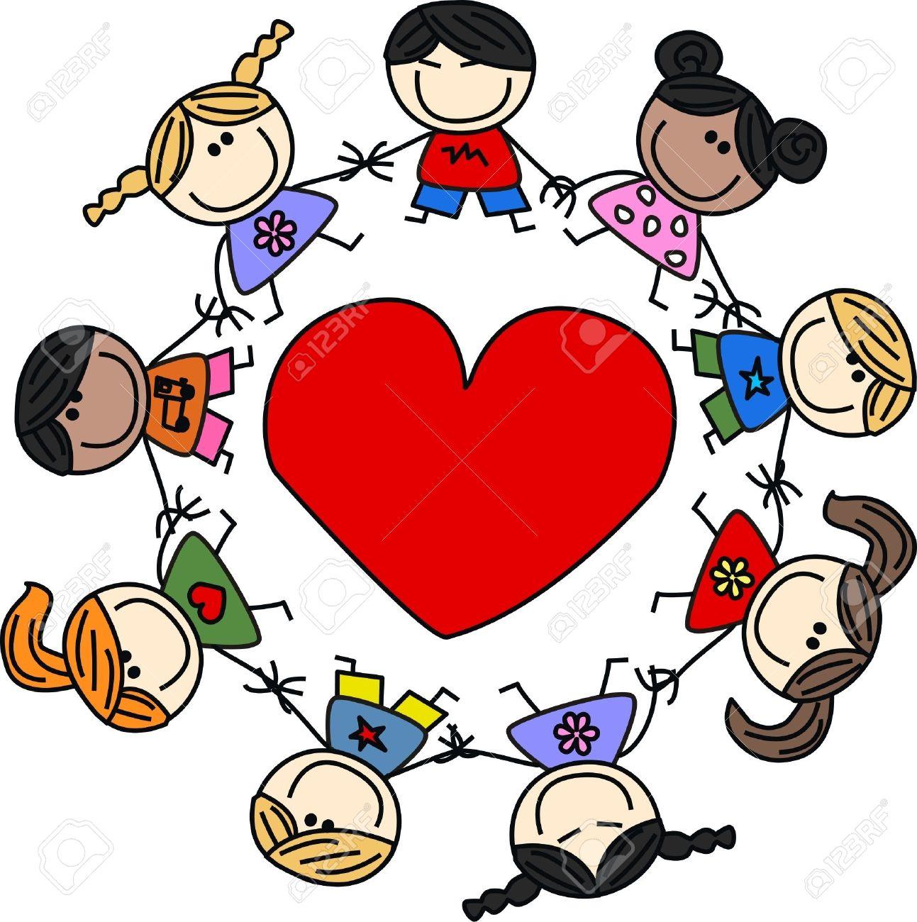 Niños étnicos Mixtos Amor Ilustraciones Vectoriales, Clip Art ...
