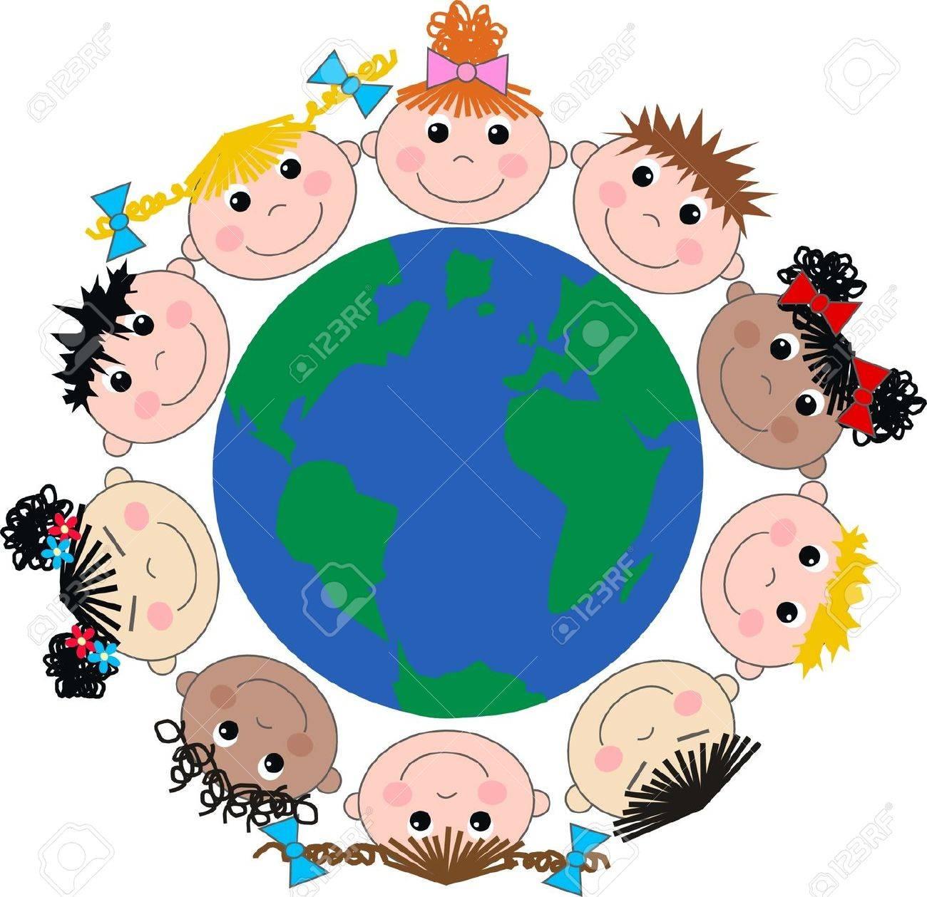 mixed ethnic happy children Stock Vector - 17780134