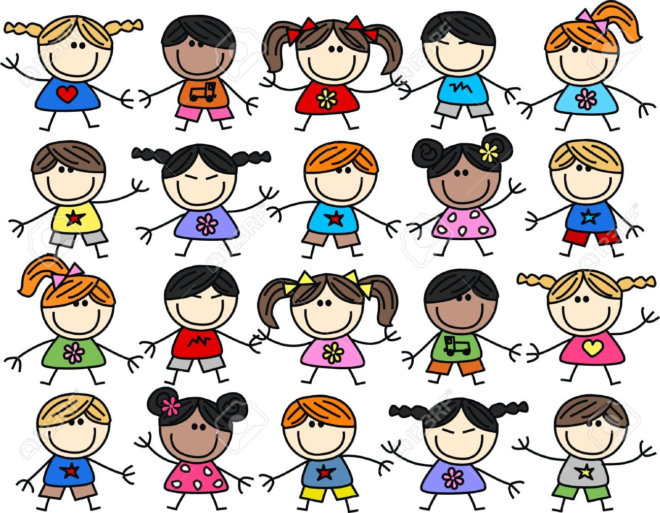 mixed ethnic happy children background Stock Vector - 17780135