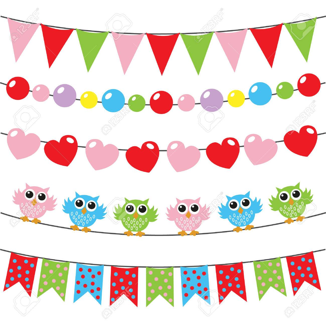 Happy Birthday Banners Wall Decorations Stock Vector