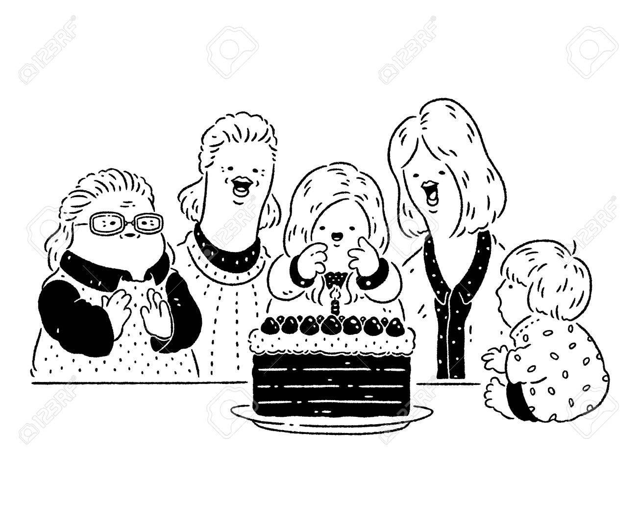 Family celebrating birthday - 128854663