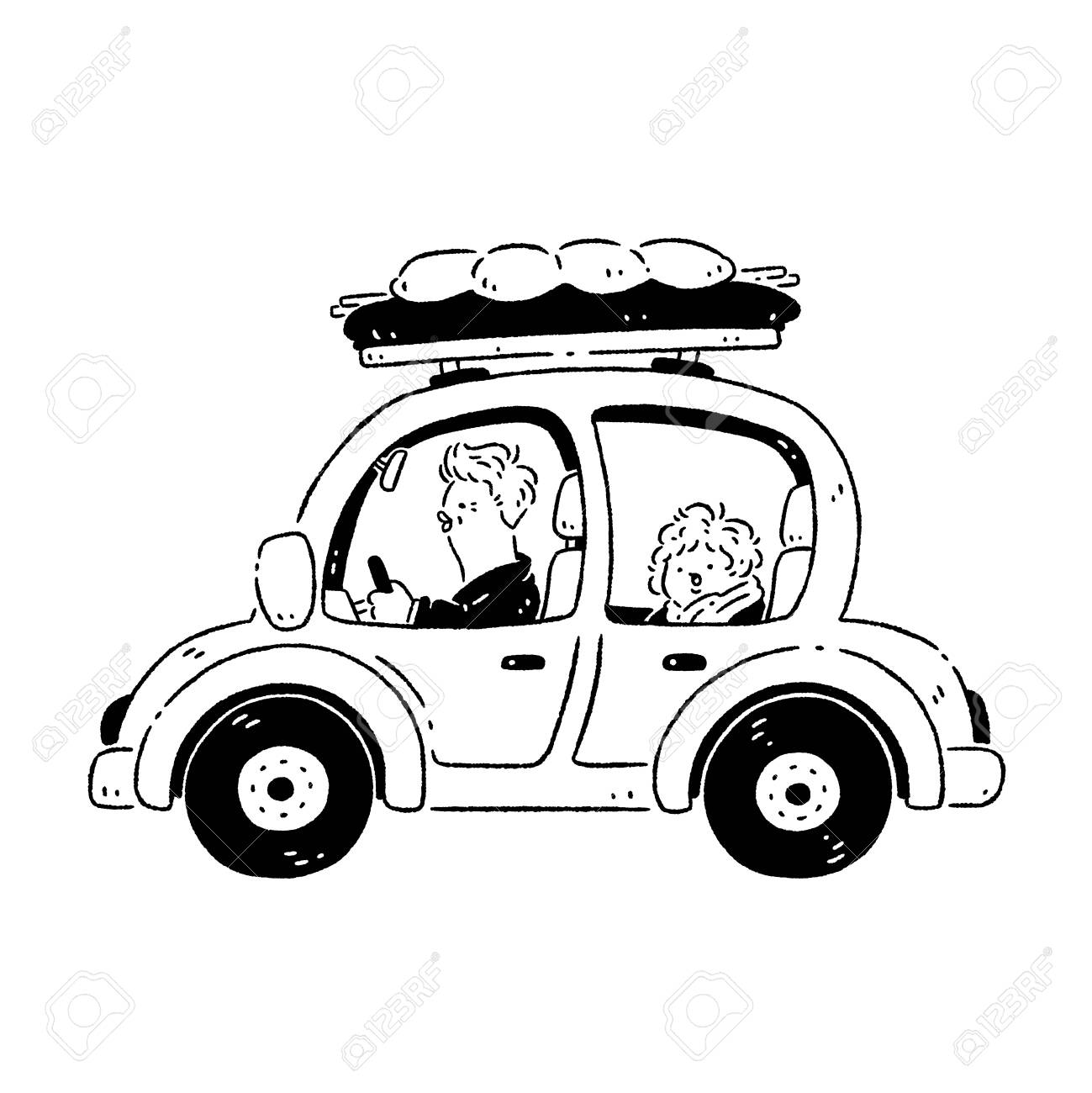 Couple driving a car to travel - 128854675