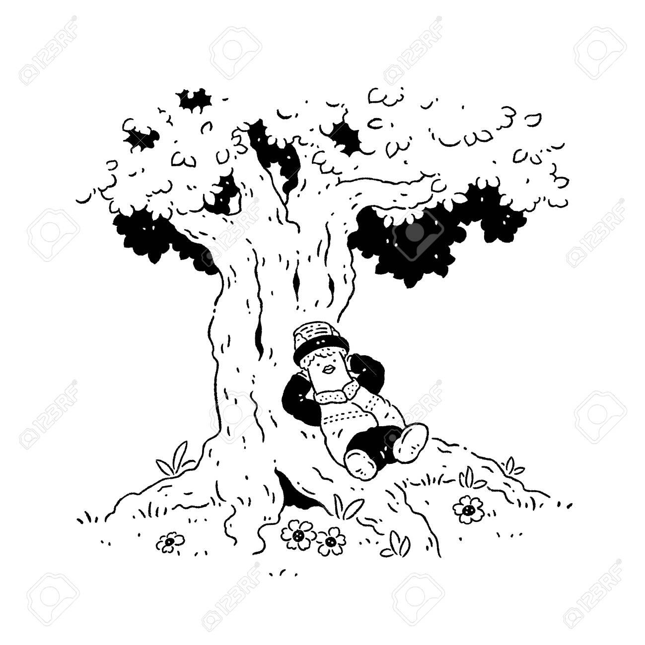 Boy resting under a tree - 128854695