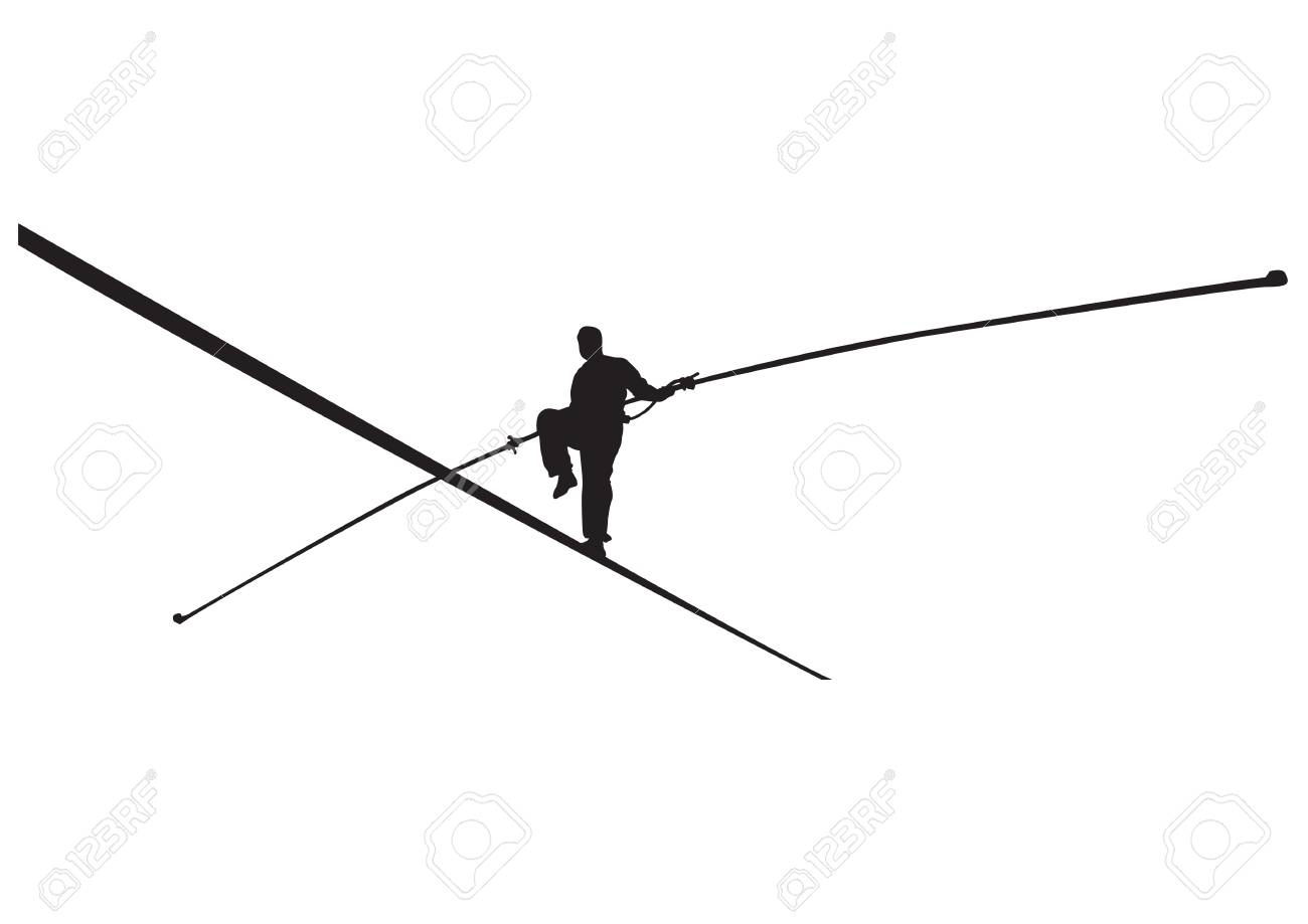 Vector illustration of a rope walker with stick silhouette. - 92641539