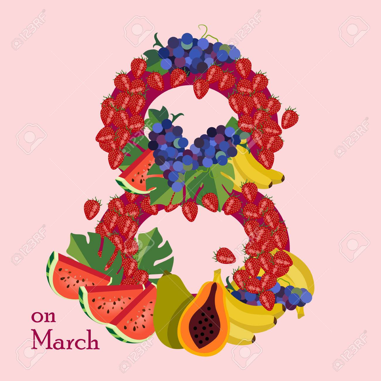 8 March Womens Day Greeting Card Template Cards As A Doughnut Stock