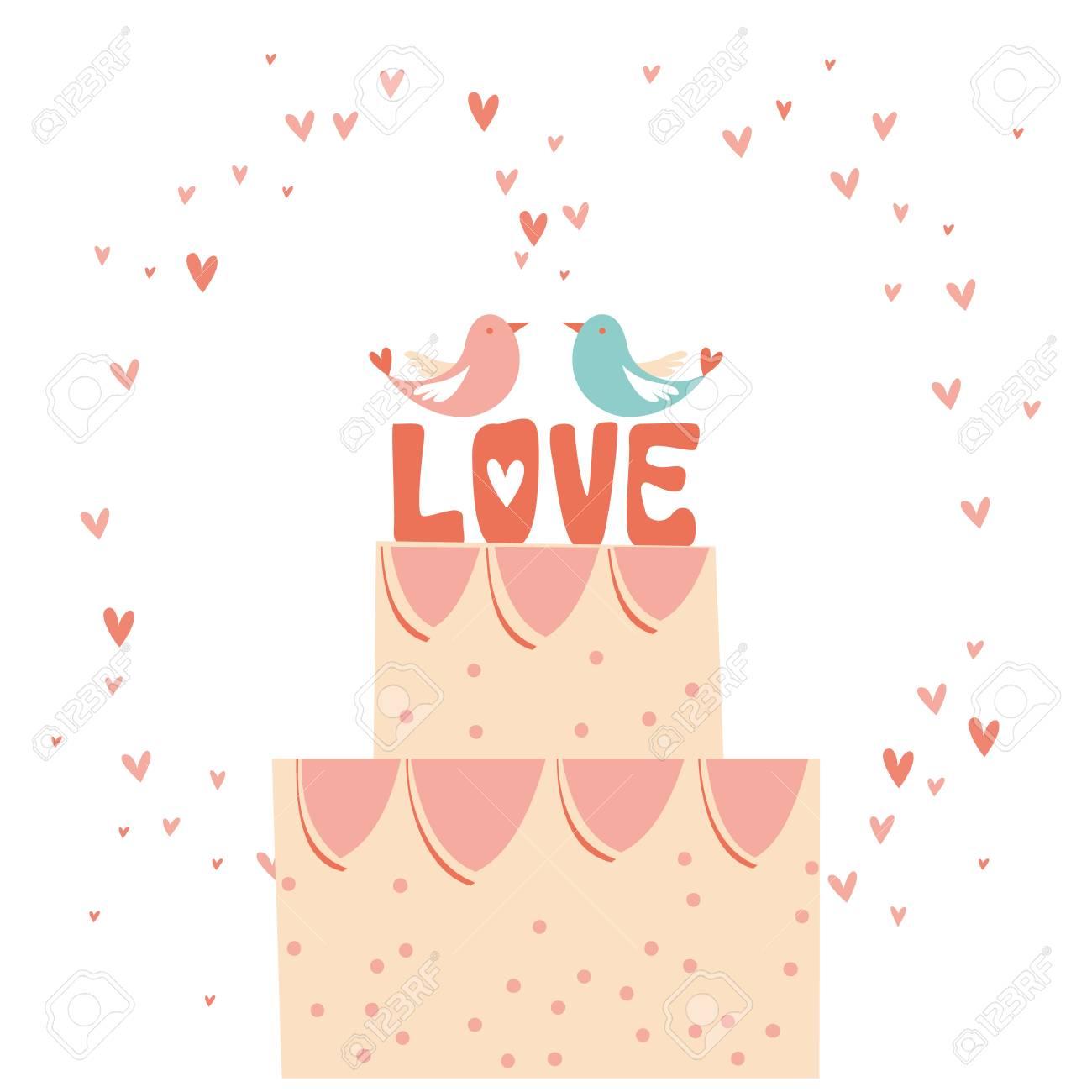 Stacked Wedding Cake Dessert With Heart Topper Line Art Vector