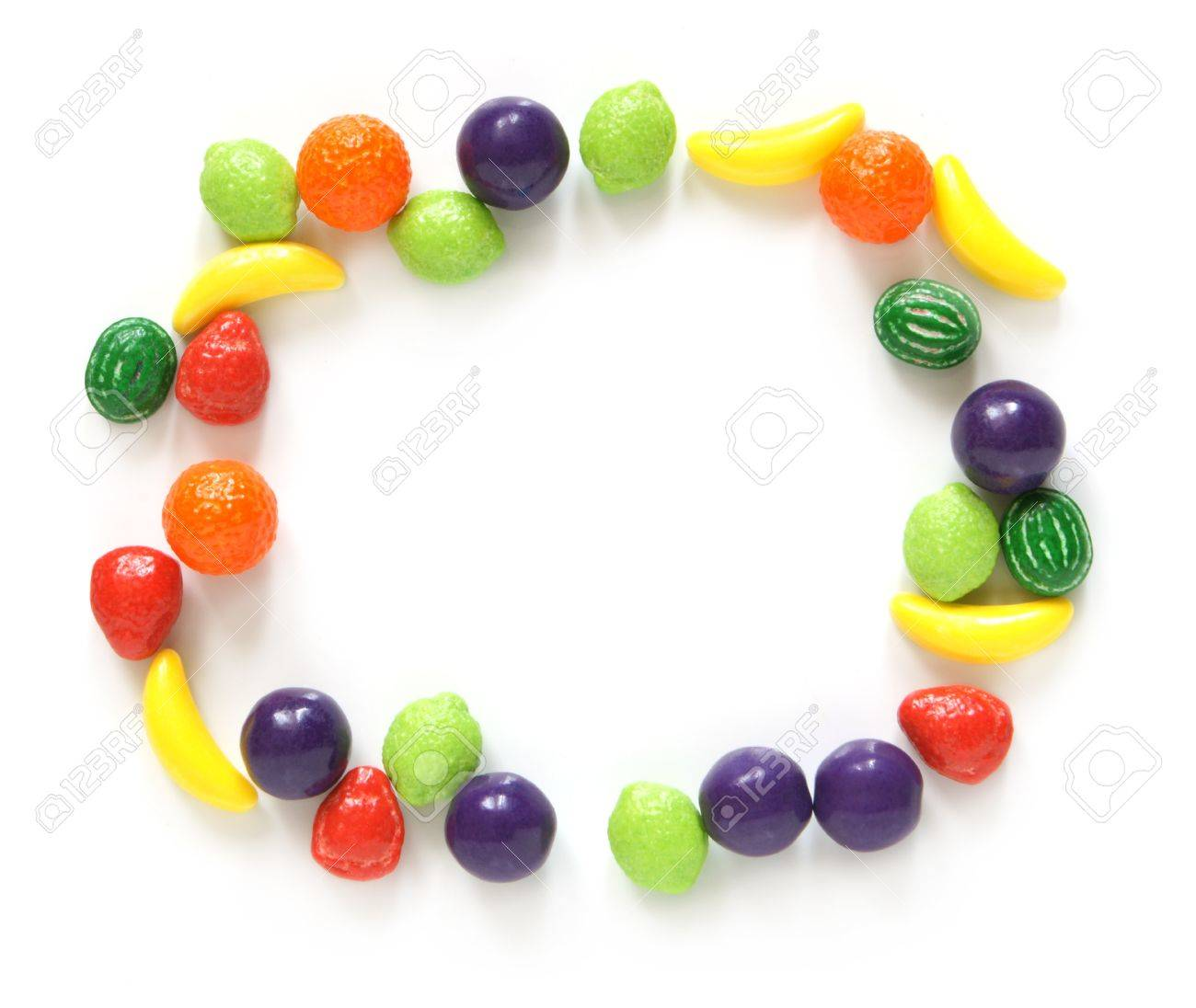 Frame made of sweets on a white background Stock Photo - 8325276