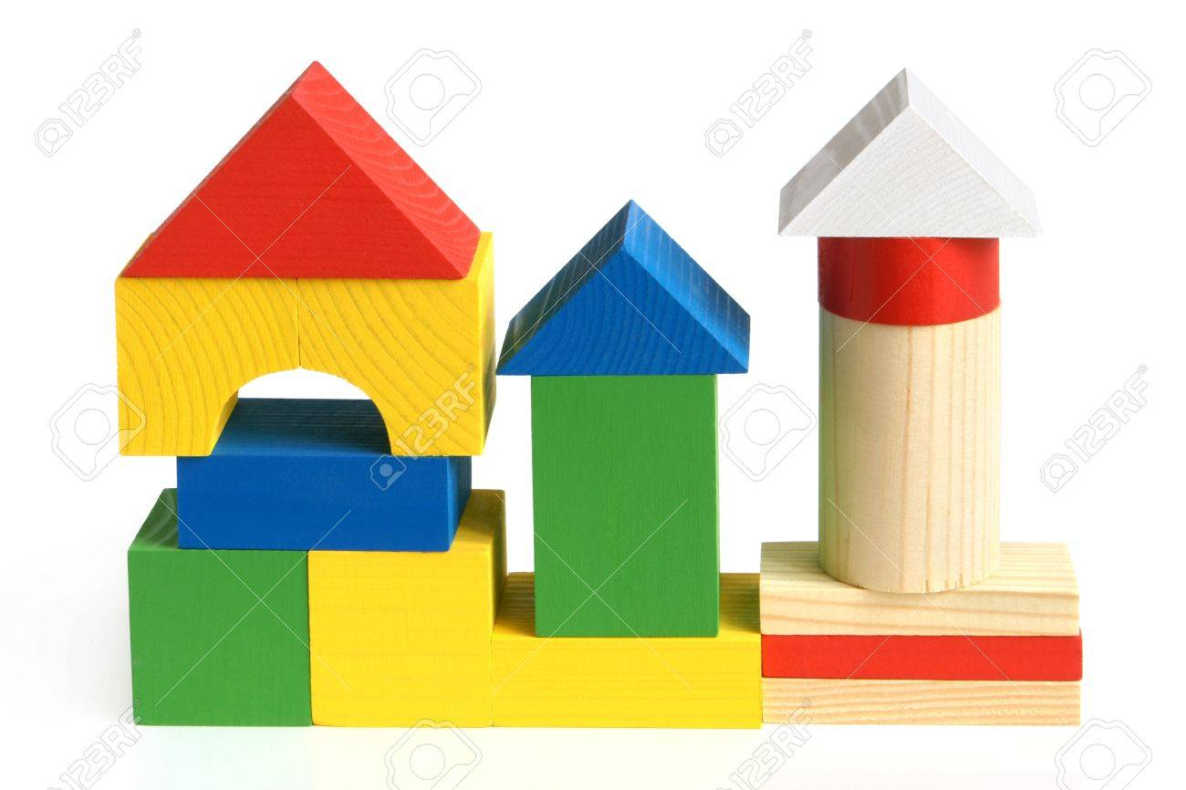 House made from children's wooden building blocks on a white background Stock Photo - 10586434