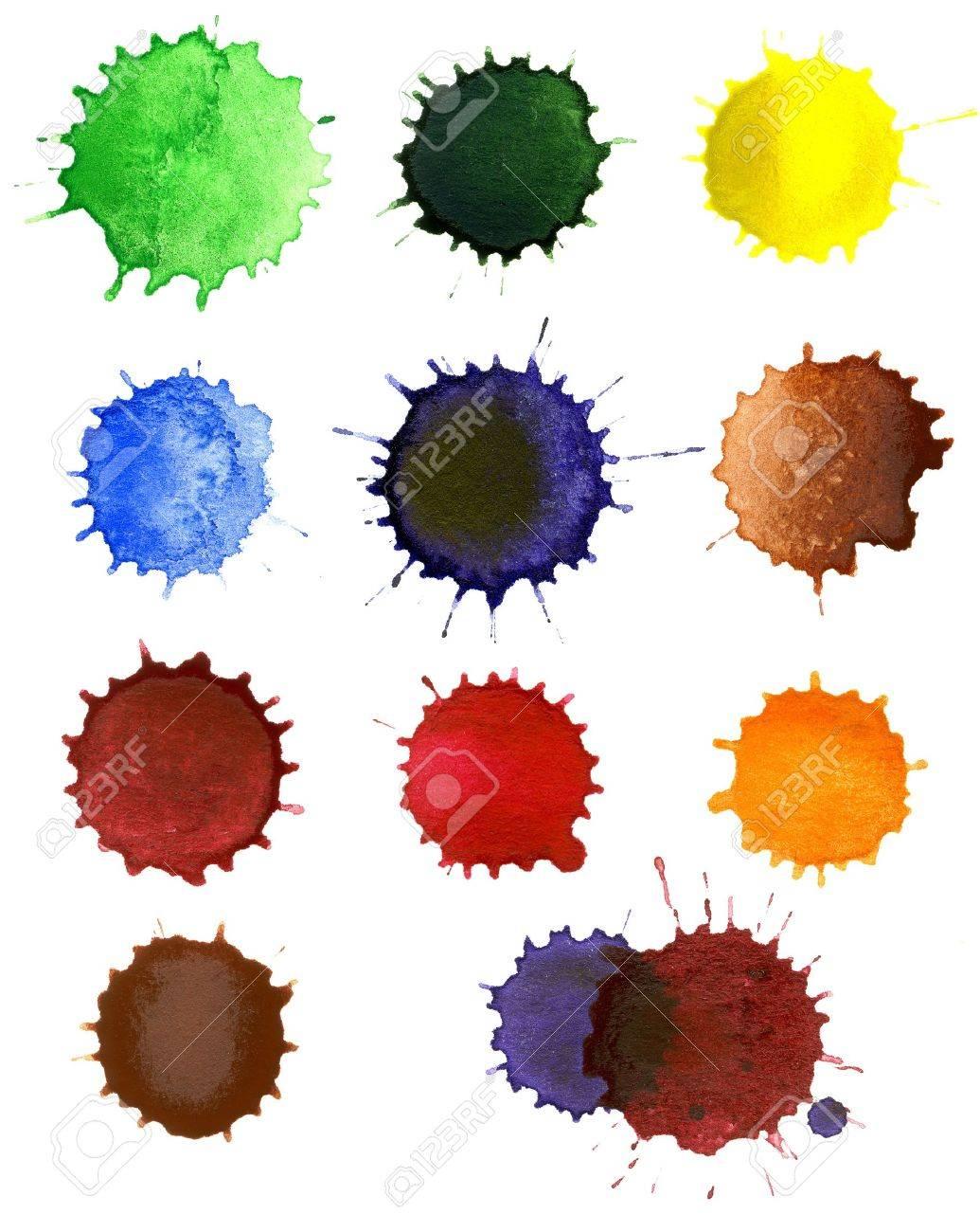 Set of abstract hand drawn watercolor drops Stock Photo - 11405807
