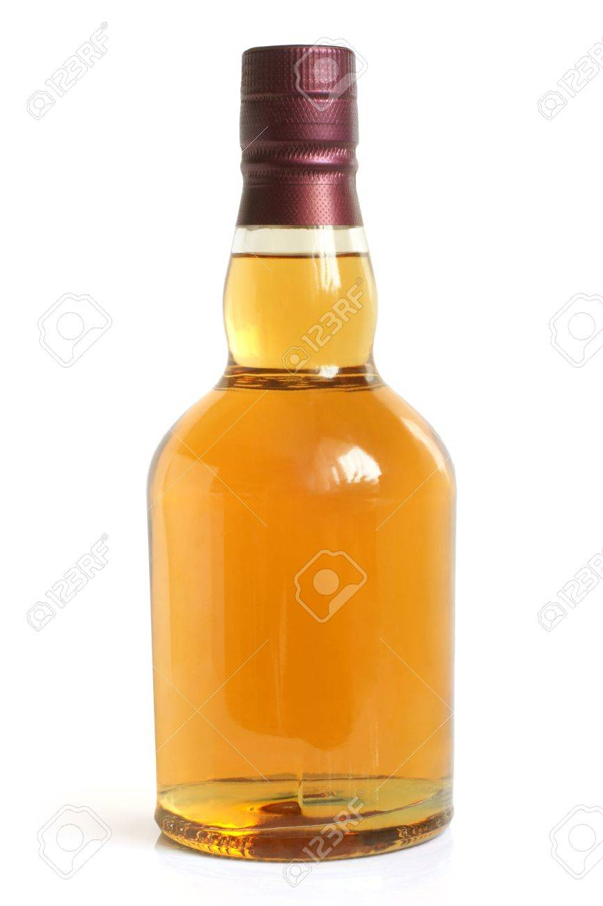 Bottle of alcoholic drink on a white background Stock Photo - 12184057