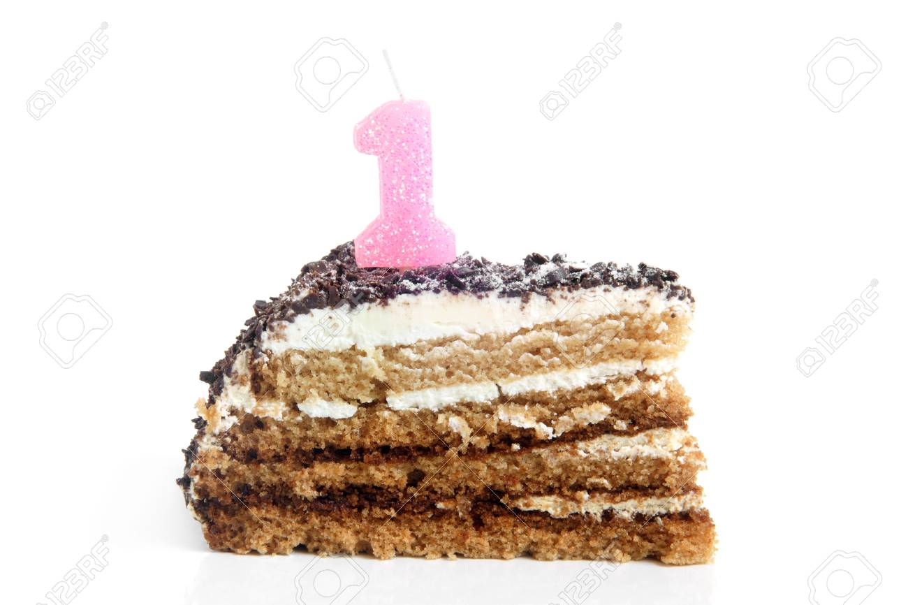 Slice Of Chocolate Birthday Cake With Number One Candle On A Stock