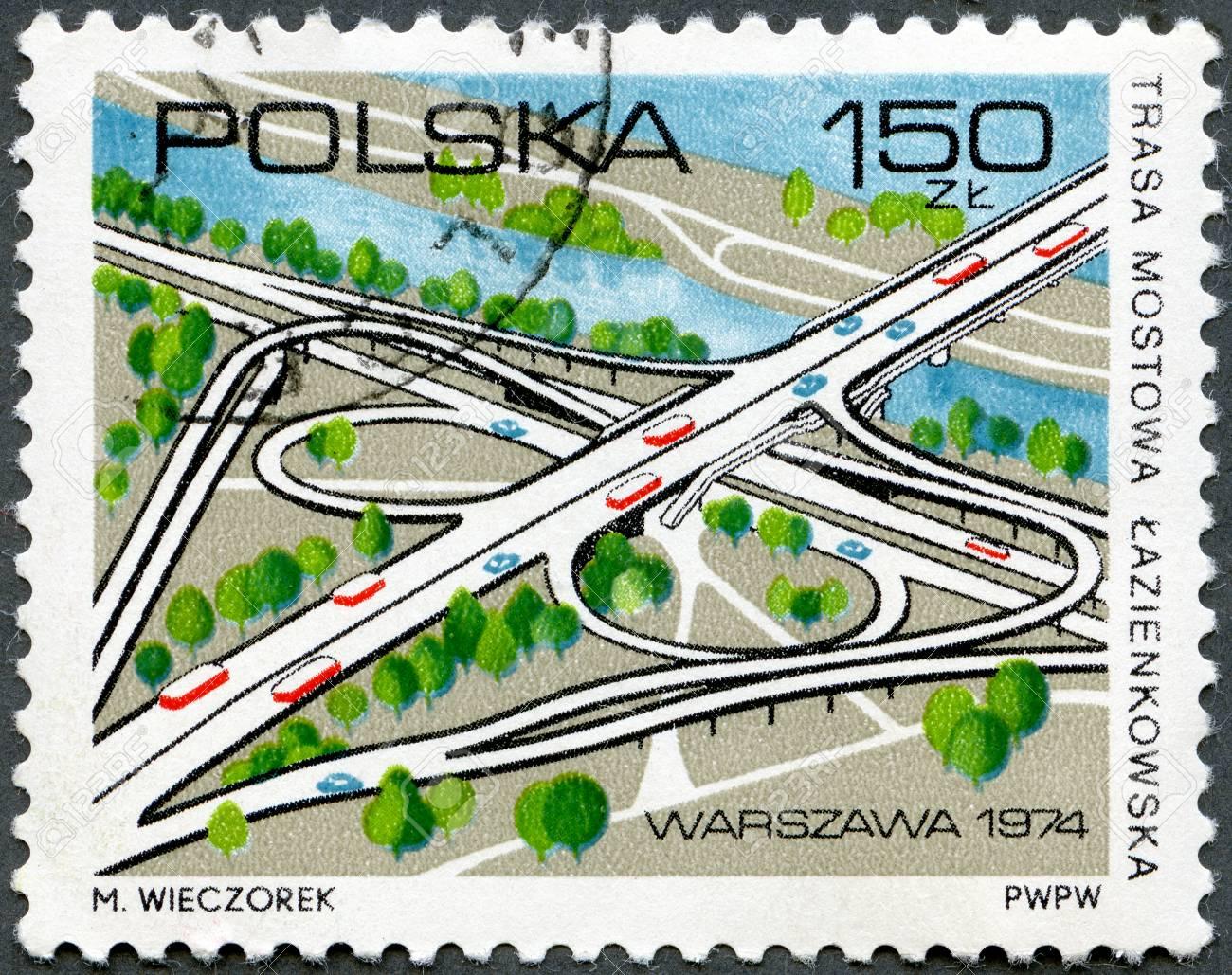 POLAND - CIRCA 1974: A stamp printed by Poland shows Lazienkowska Bridge Road, Opening of Lazienkowska Bridge over Vistula south of Warsaw, circa 1974 Stock Photo - 13023396
