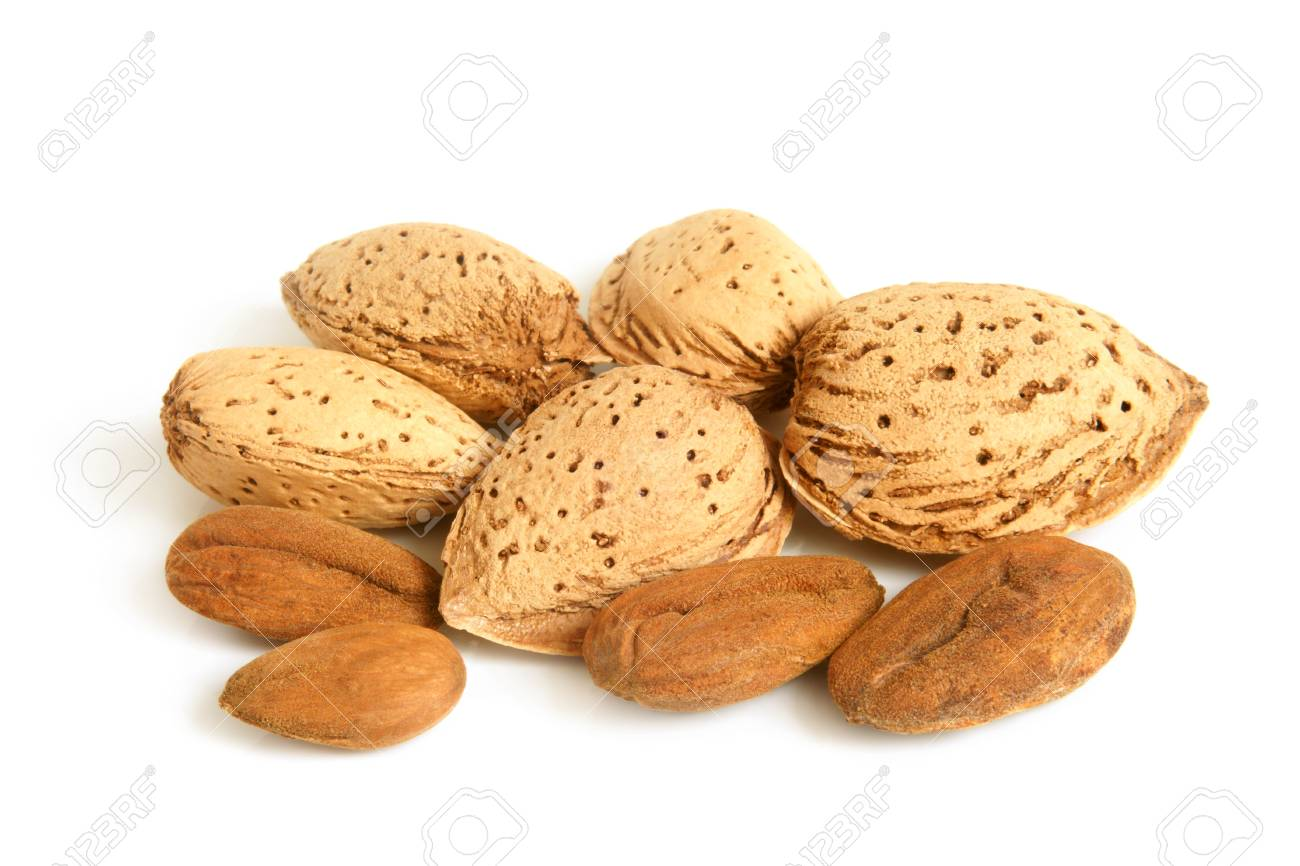 Almonds on a white background Stock Photo - 13198332