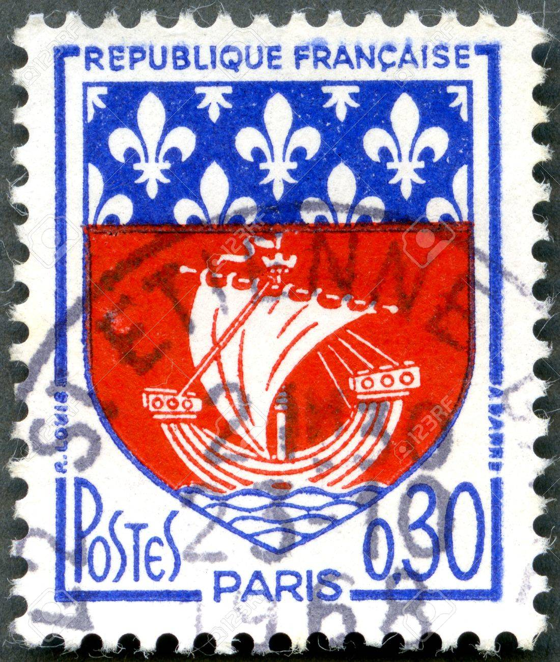FRANCE - CIRCA 1965: A stamp printed in France show Paris Coat of Arms, circa 1965 Stock Photo - 13518863