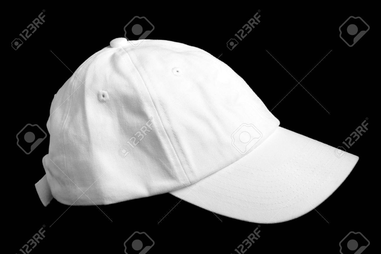 9642eba0 White Baseball Cap Isolated On Black Background Stock Photo, Picture ...