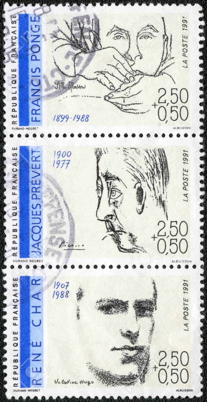 FRANCE - CIRCA 1991: A stamp printed in France shows Poets: Francis Ponge (1899-1988), Jacques Prevert (1900-1977), Rene Char (1907-1988), circa 1991 Stock Photo - 14406951