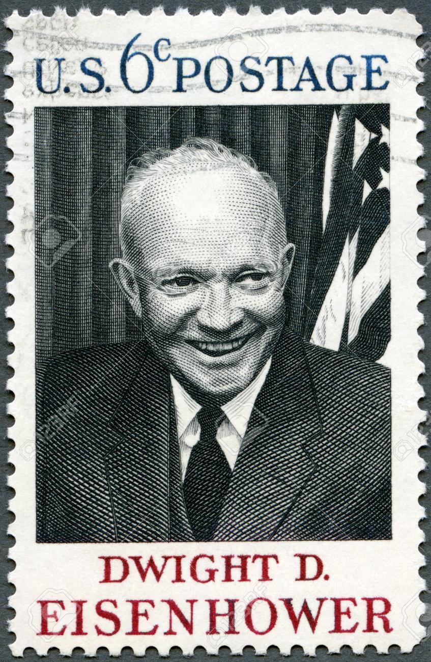アメリカ合衆国 - 1969 年頃: 米国ショー ドワイト D アイゼンハワー、34rd 大統領 (1890年-1969 年)、1969  年頃印刷スタンプ の写真素材・画像素材 Image 14443355.