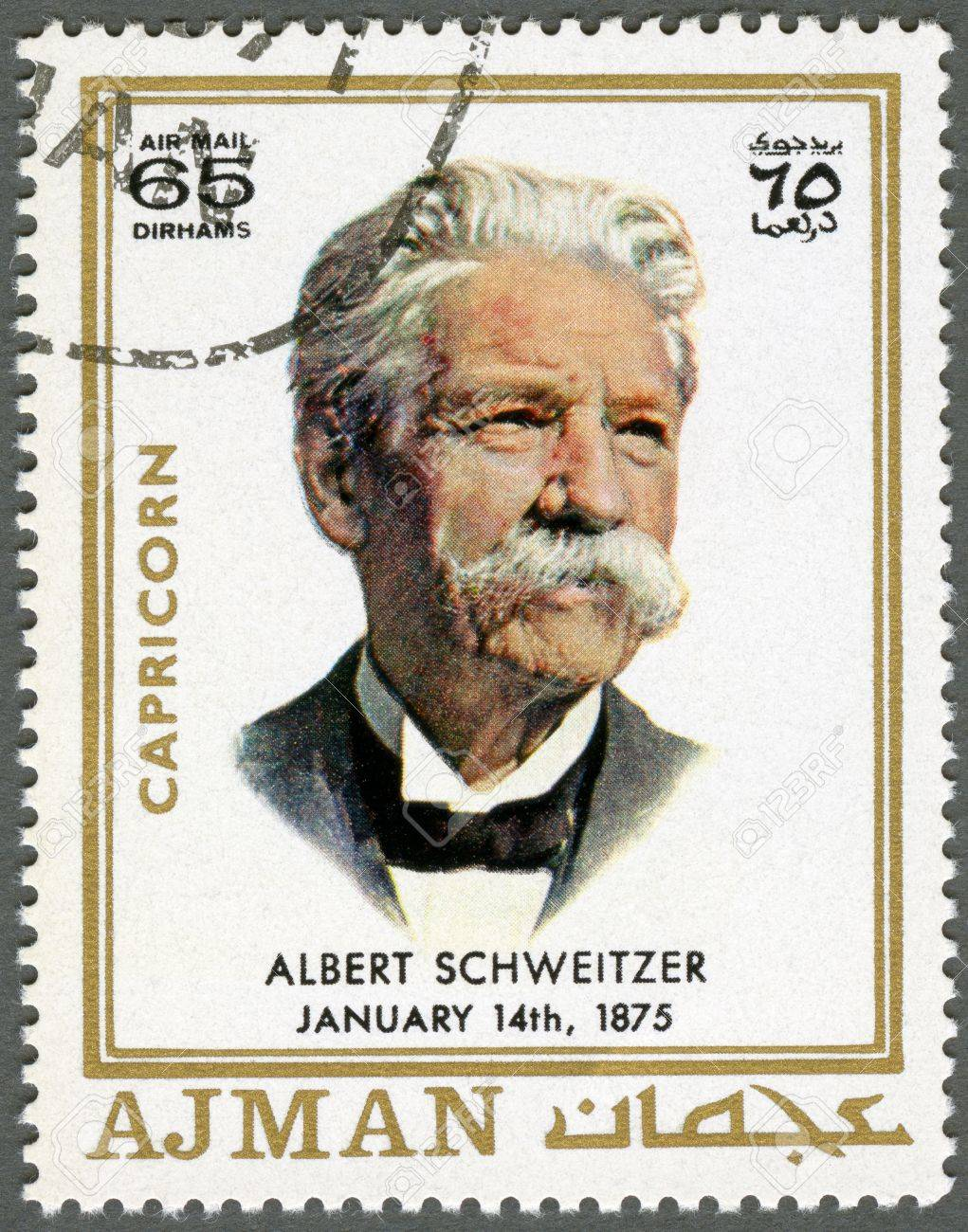 AJMAN - CIRCA 1970: A stamp printed in Ajman shows Albert Schweitzer (1875-1965), circa 1970 Stock Photo - 15461123