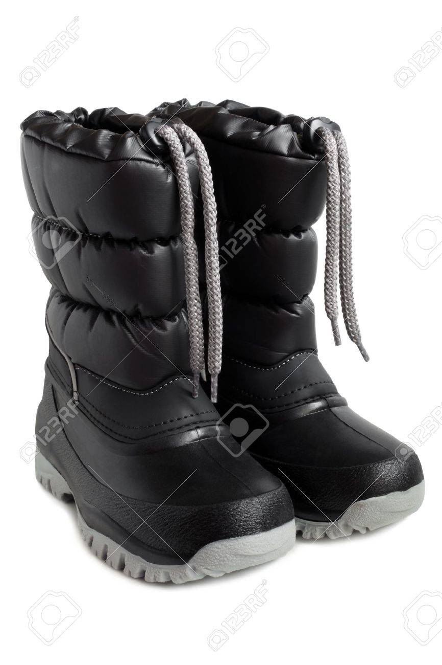 Children Winter Boot On A White