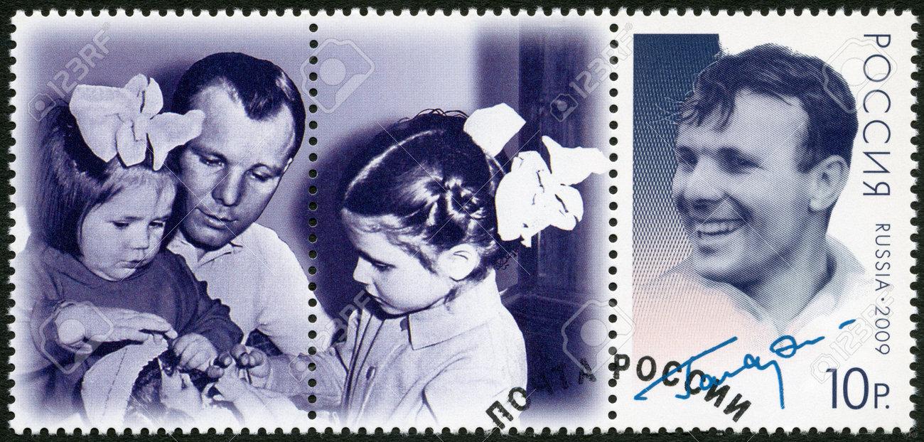RUSSIA - CIRCA 2009: A stamp printed in Russia shows Yuri Gagarin (1934-1968), the 75th anniversary of birth U.A. Gagarin , first astronaut in the world, circa 2009 Stock Photo - 16680006