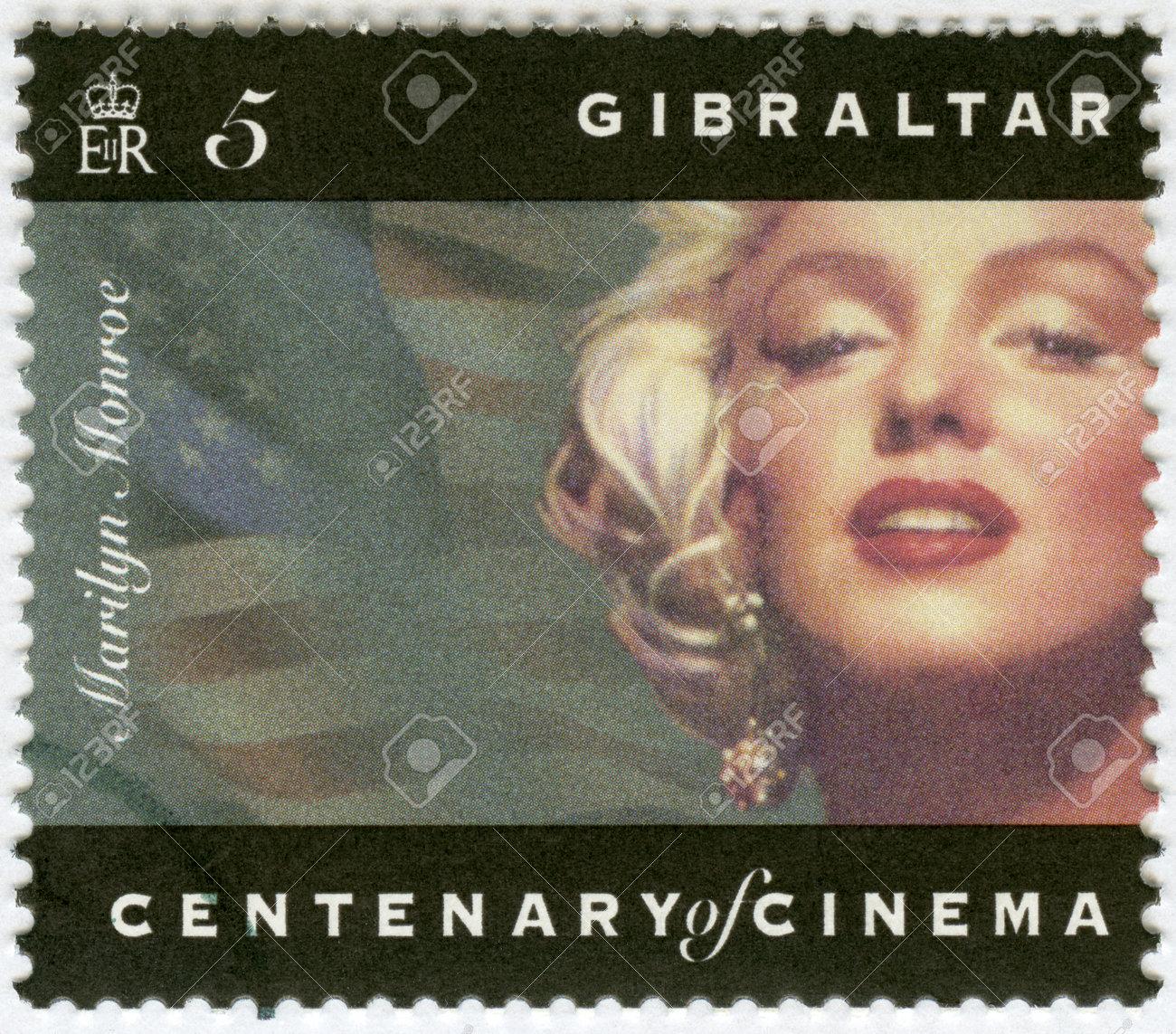 GIBRALTAR - CIRCA 1995: A stamp printed in Gibraltar shows Marilyn Monroe, circa 1995 Stock Photo - 16896667
