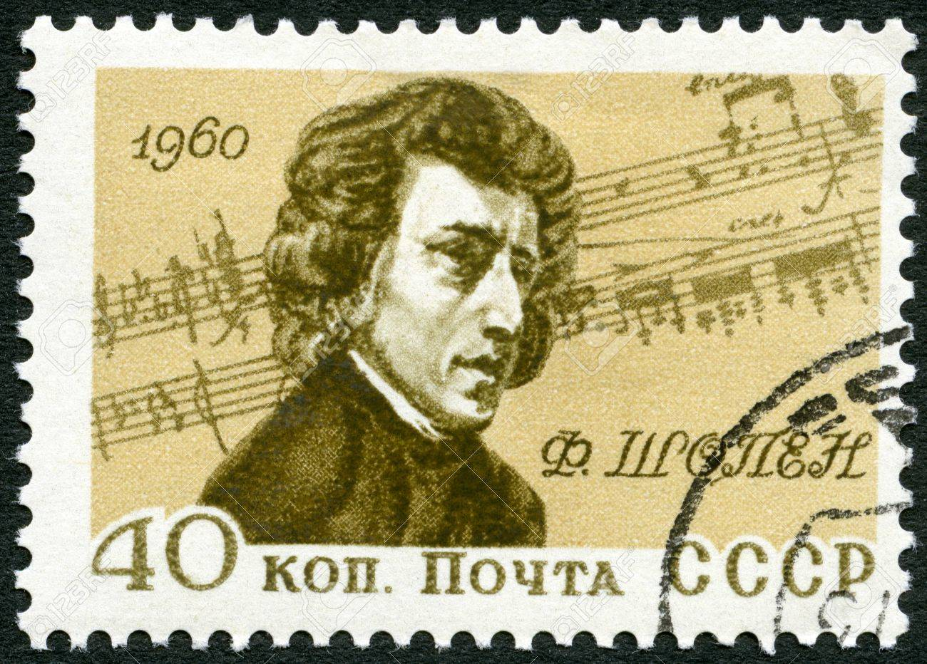 USSR - CIRCA 1960: A stamp printed in USSR shows portrait of Frederic Chopin (1810-1849), by Eugene Delacroix, Polish composer, 150th Birth Anniversary of Frederic Chopin, circa 1960 Stock Photo - 17985905