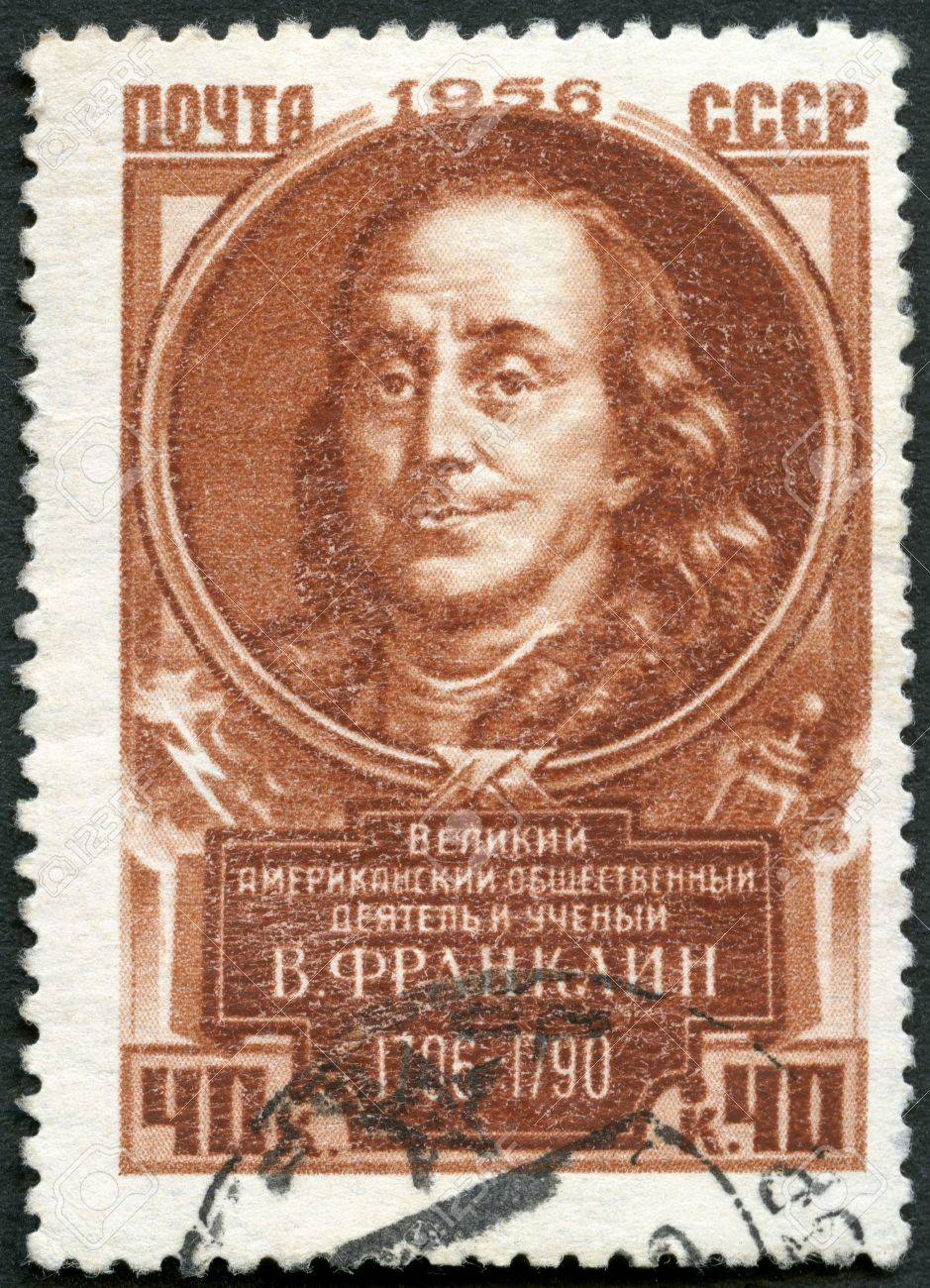 USSR - CIRCA 1956: A stamp printed in USSR shows Benjamin Franklin (1706-1790), series Great personalities of the world, circa 1956 Stock Photo - 18170931