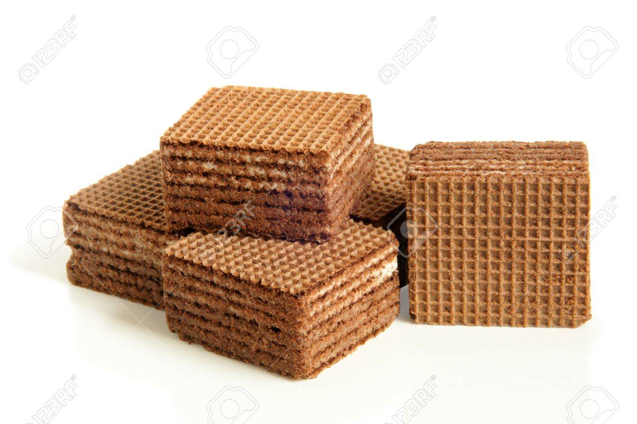 Chocolate Wafers On A White Background Stock Photo, Picture And ...