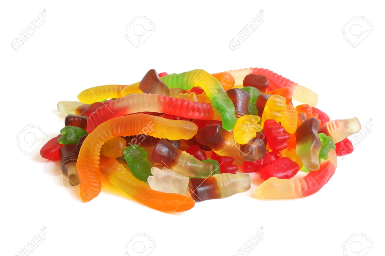 Colorful jelly candy on white background Stock Photo - 21652199