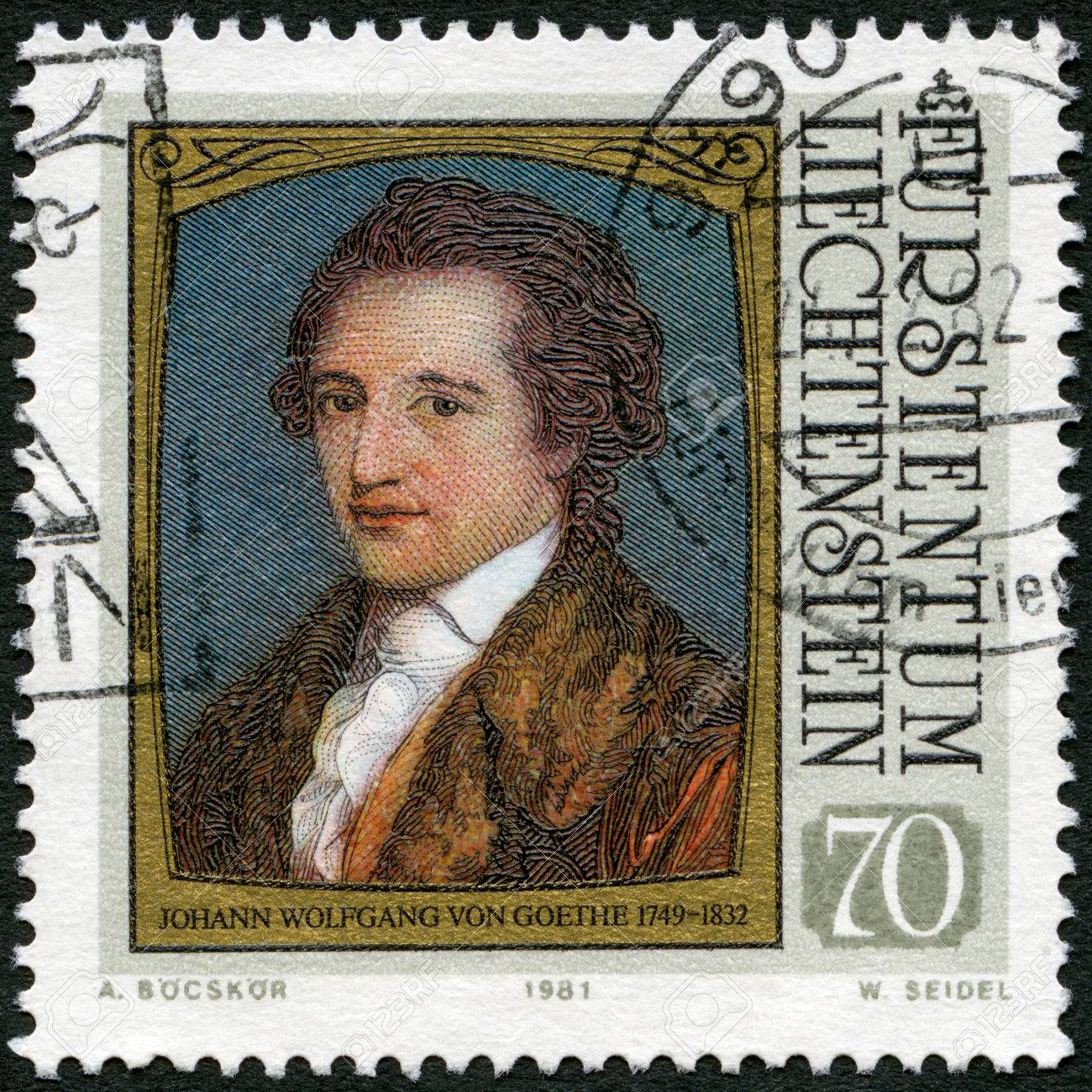 LIECHTENSTEIN - CIRCA 1981: A stamp printed in liechtenstein shows portraits of Goethe (1749-1832), by Angelica Kauffmann, series Famous Visitors to Liechtenstein (Paintings), circa 1981 Stock Photo - 22235635