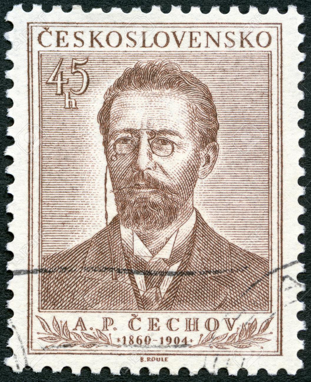 CZECHOSLOVAKIA - CIRCA 1954: A stamp printed in Czechoslovakia shows Anton Pavlovich Chekhov (1860-1904), circa 1954 Stock Photo - 22541009