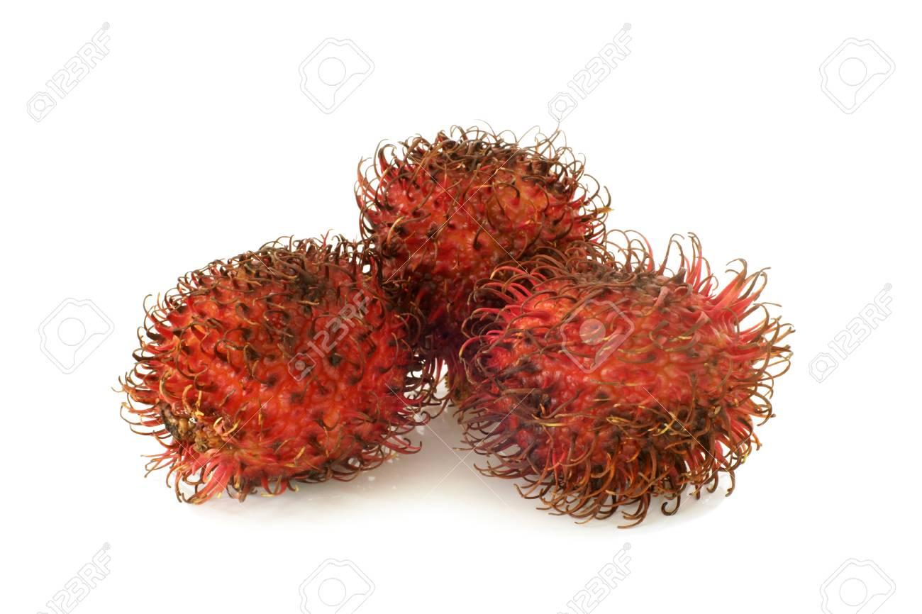 Red rambutan fruit on a white background Stock Photo - 23283598