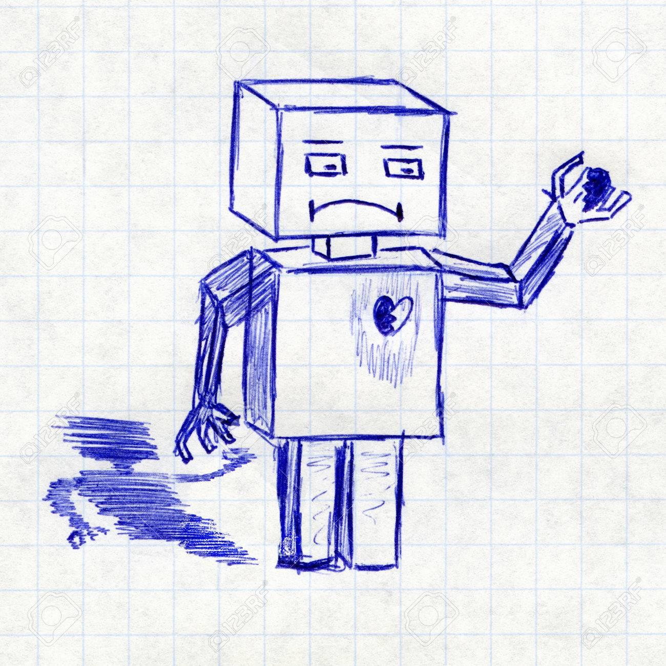 Robot Avec Le Coeur Brise Le Dessin D Enfant Dans Un Cahier D