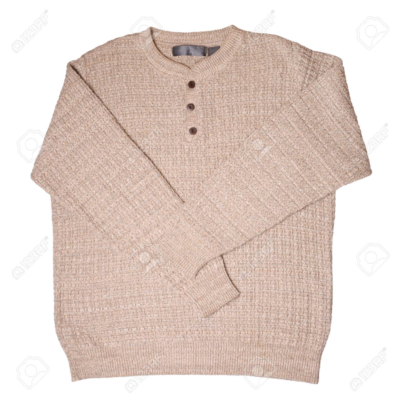 f02a8b18c8ca Beige Sweater Isolated On White Stock Photo