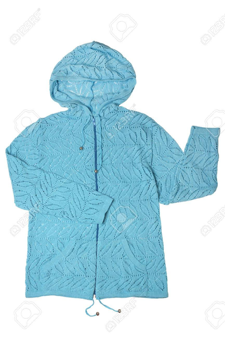 24a41bf642d7 Hooded Knitted Jacket Isolated On White Background Stock Photo ...