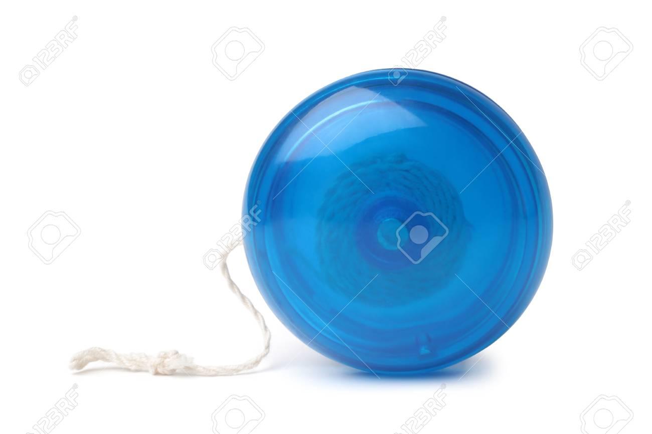 Blue yo-yo toy on white background - 122397607