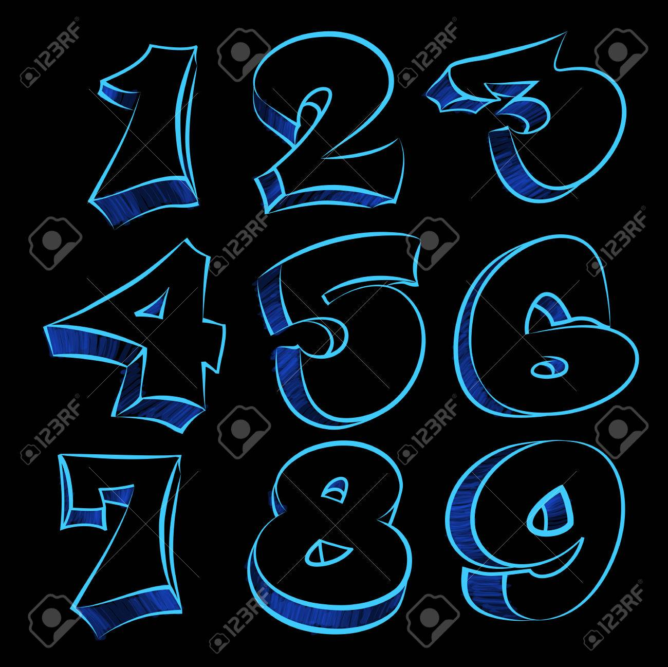 Blue graffiti figures modern type grafitti design stock vector 50476432