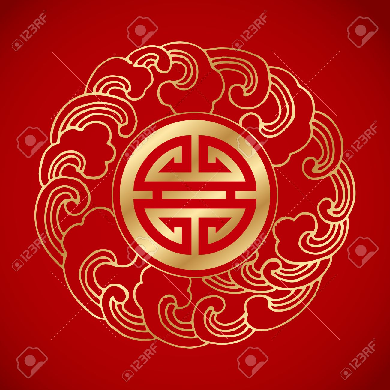 Chinese Traditional Wave Symbol Around A Long Life Symbol Royalty
