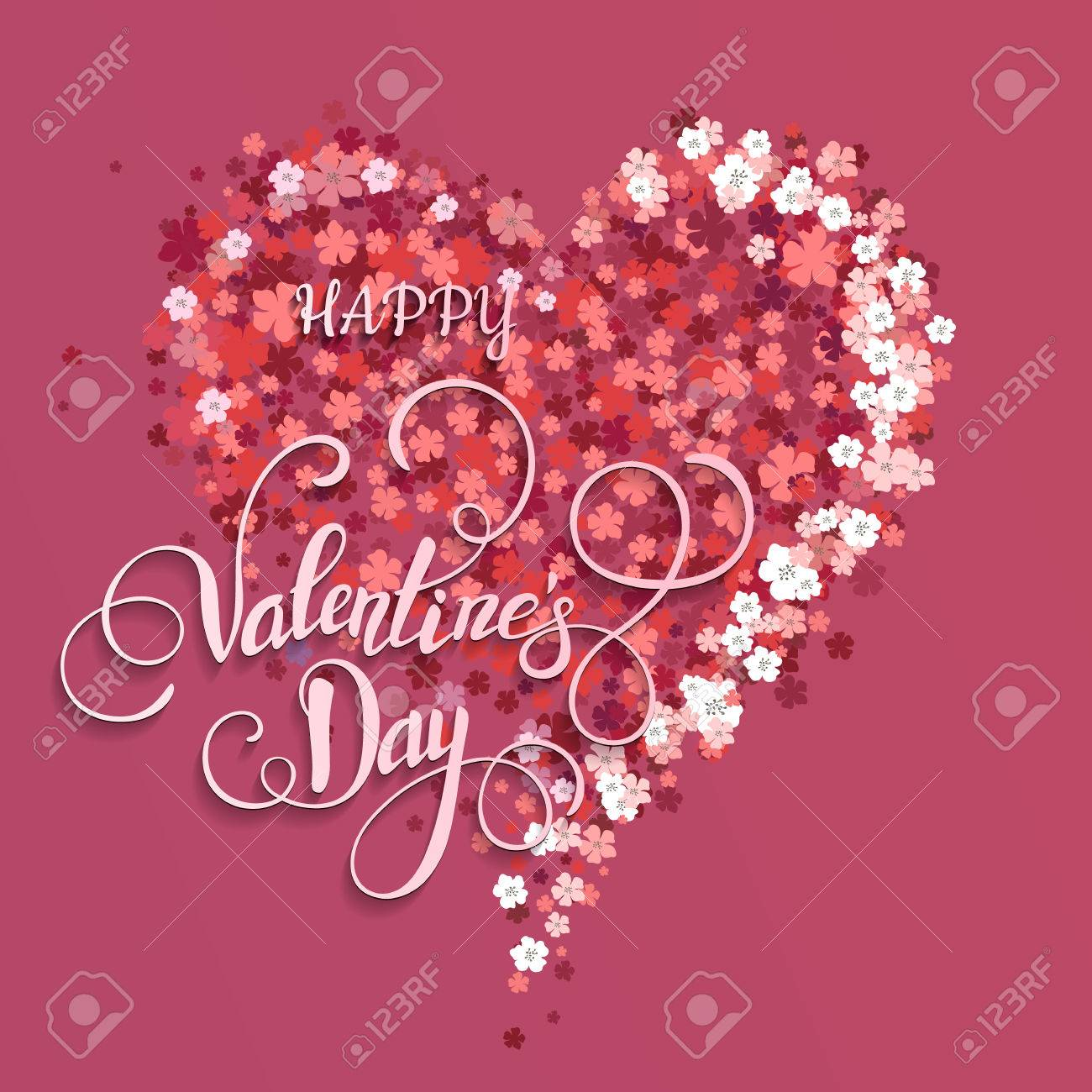 Beautiful Floral Heart Valentine Card Vector Illustration Eps10