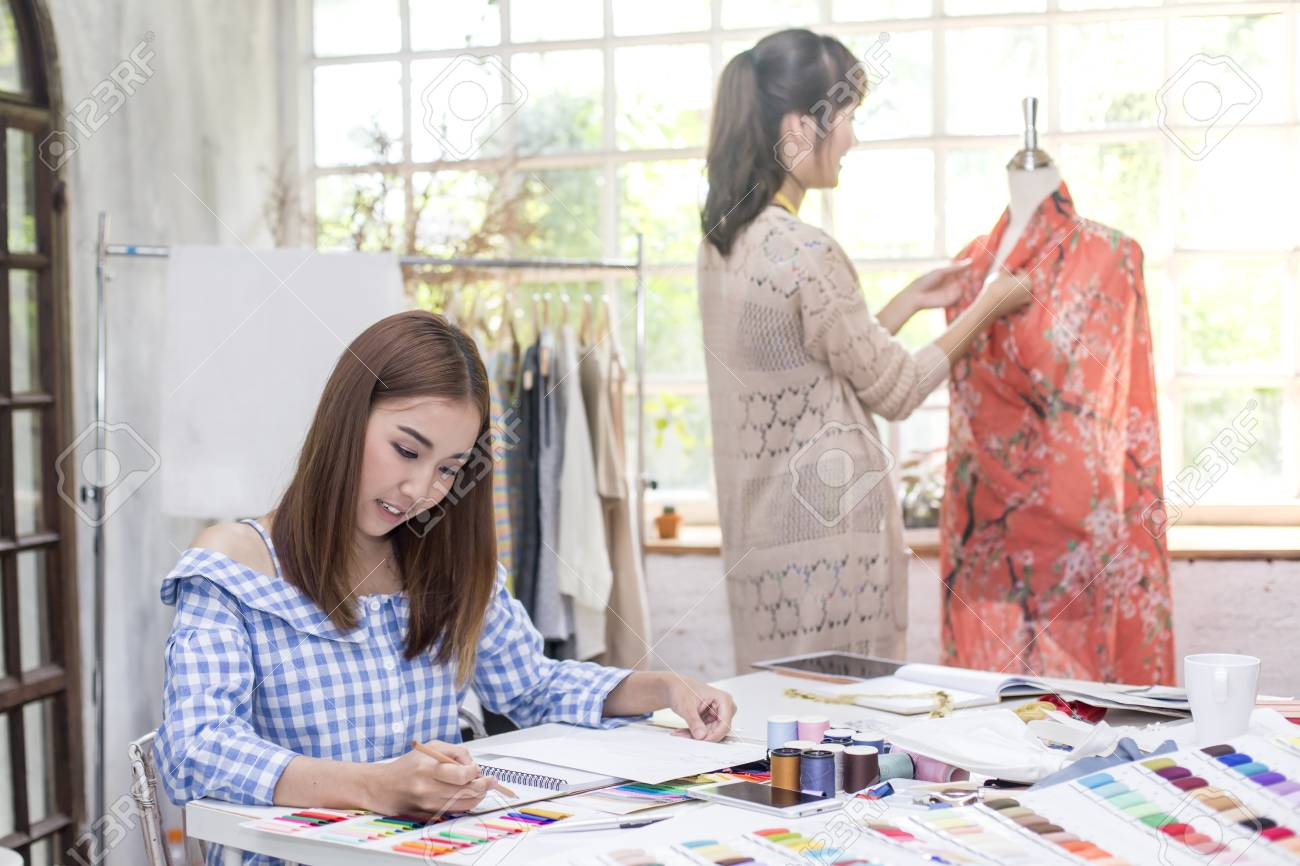 Young Team Asian Designer Warking At Studio Fashion Designer Stock Photo Picture And Royalty Free Image Image 81661315