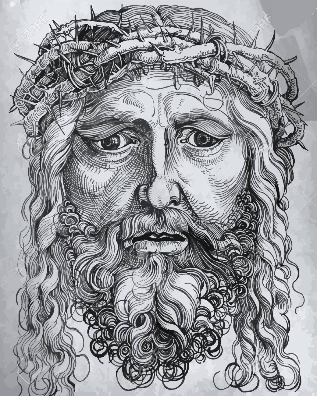Sketch of jesus christ pen hands drawing on tablet holy god drawing on